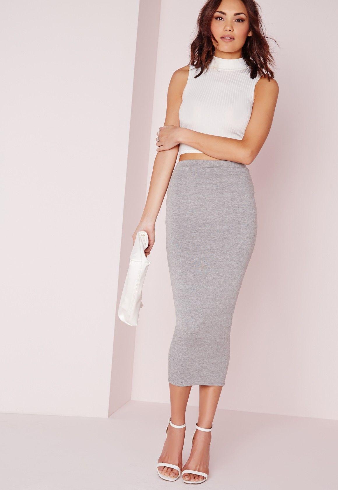 fcb5e9aff Missguided - Longline Jersey Midi Skirt Grey | Spring Break Vegas ...