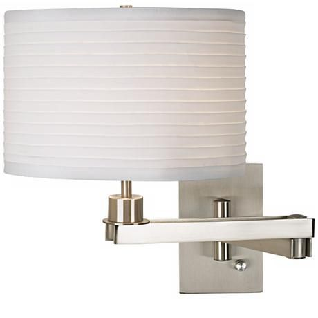 Possini Euro Ribbed Shade Brushed Nickel Plug In Swing Arm 17j22 Lamps Plus Contemporary Wall Lamp Wall Lamp Possini Euro Design