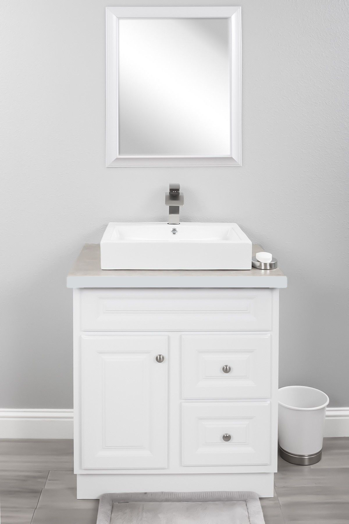Novatto Porcelain Vessel Sink Combo With Brushed Nickel Faucet