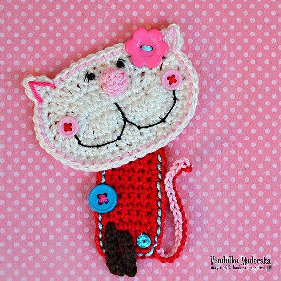 Crochet kitty appliqué - pattern DIY | Apliques, Bricolaje y Patrones