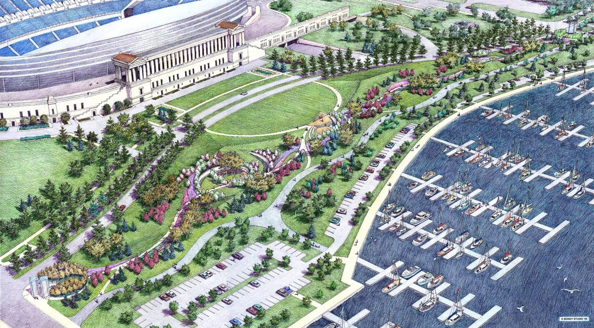 Charmant Wolff Landscape Architecture. Chicago Police Memorial. Goldstar. Aerial  Perspective Rendering By Bondy Studio