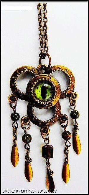 Steampunk Green Taxidermy Crocodile Eye Necklace