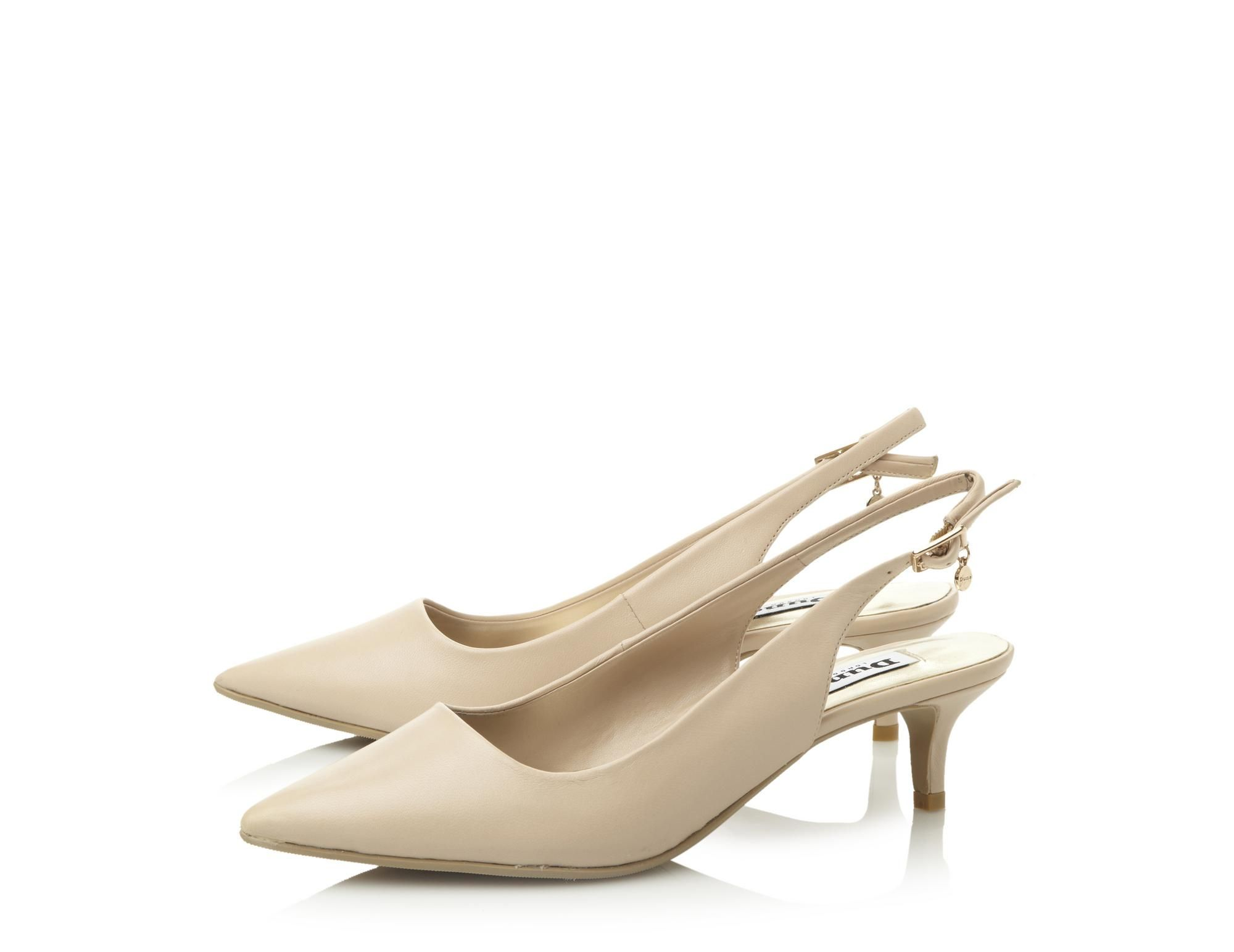 Dune Ladies CATHRYNE Kitten Heel Slingback Court Shoe in Nude Size ...