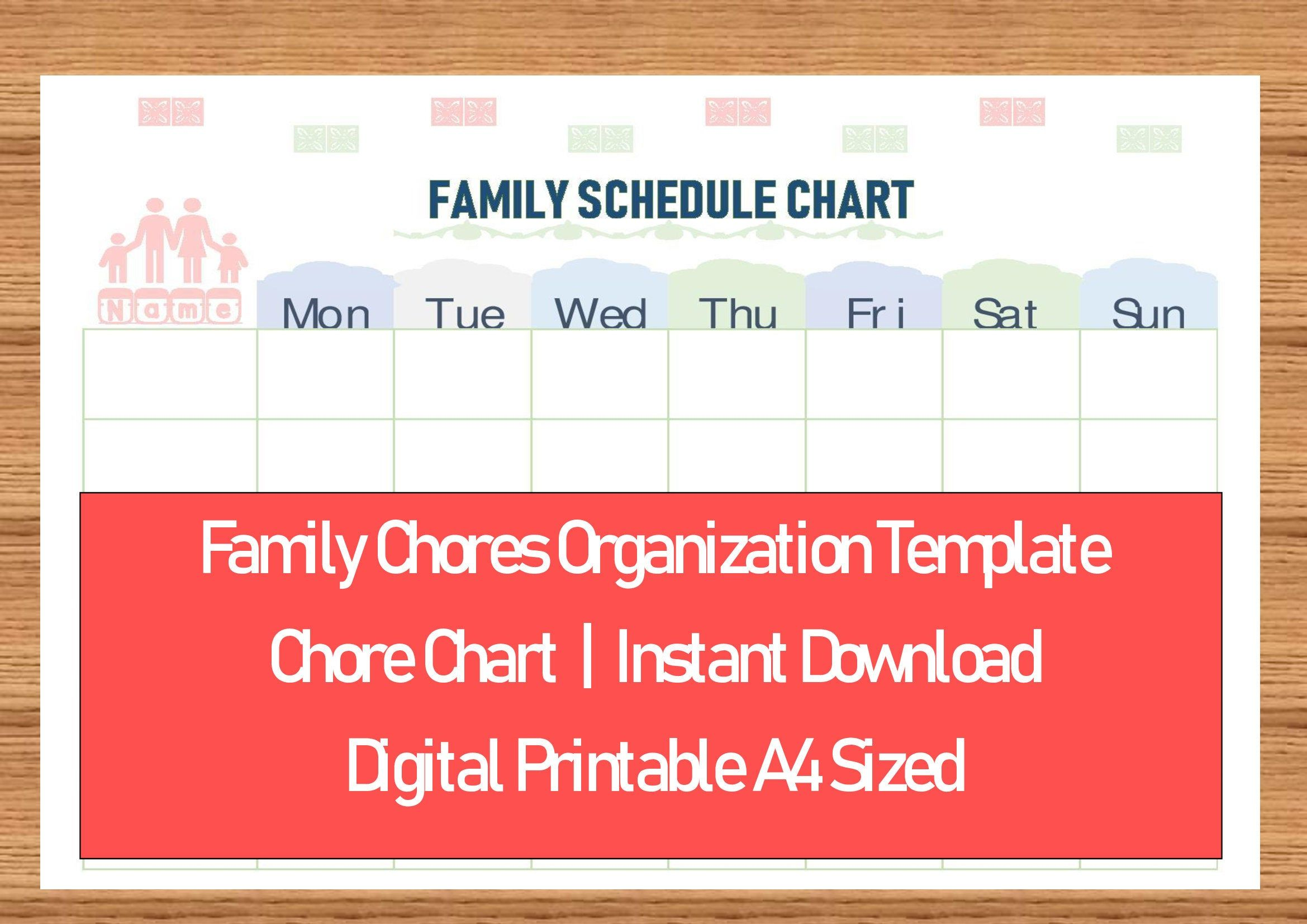 Family Schedule Chart Family Chore Chart Planner Template