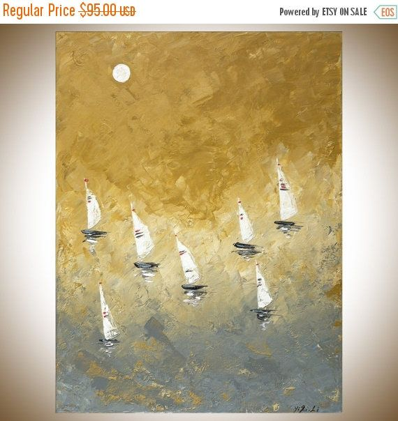 Sail boat Painting mist morning painting abstract seascape yellow ...