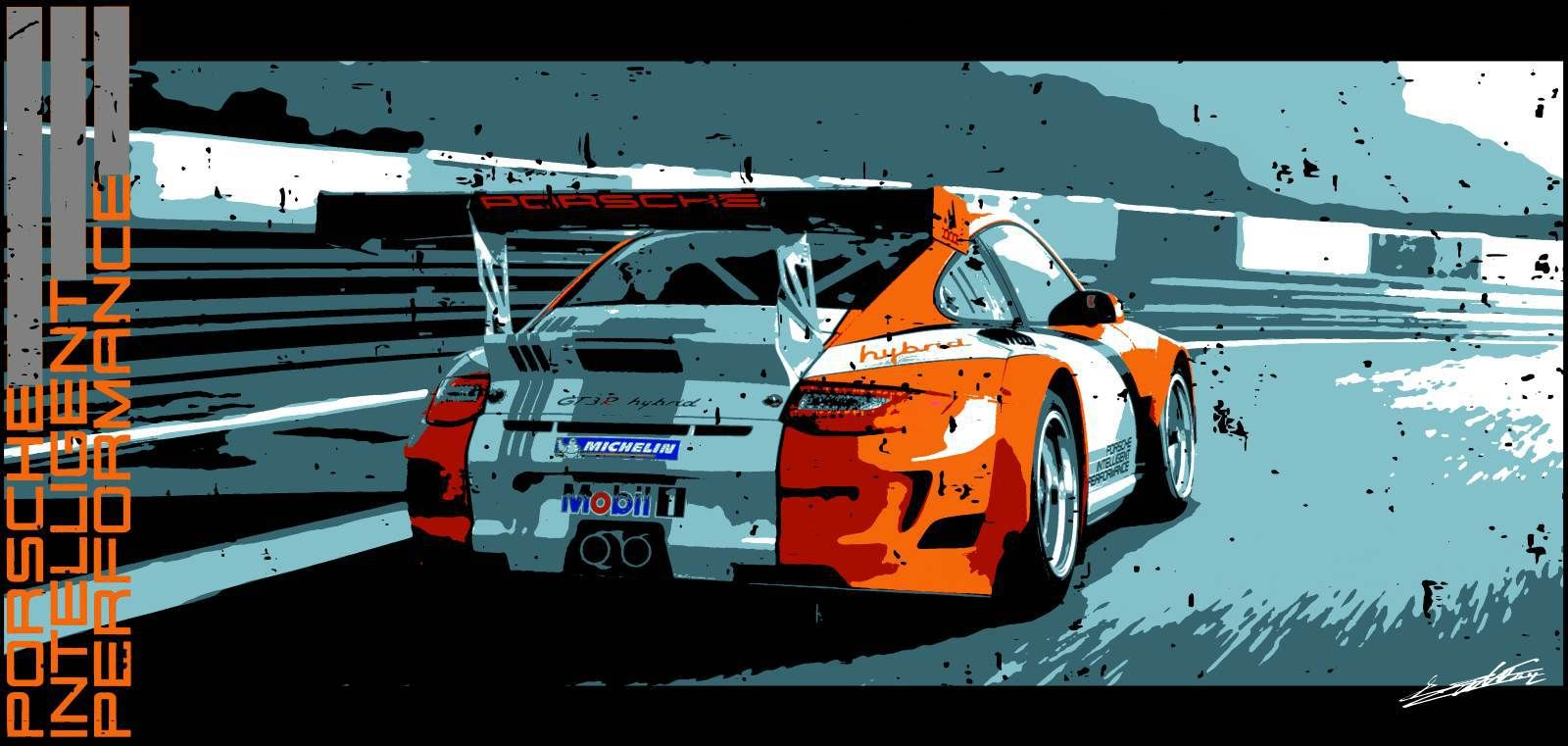 Tableau Porsche Gt3 Hybride Voiture De Course Peinture