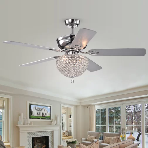 52 Yandell 5 Blade Crystal Ceiling Fan With Remote Control And Light Kit Included Ceiling Fan Chandelier Ceiling Fan With Remote Ceiling Fan