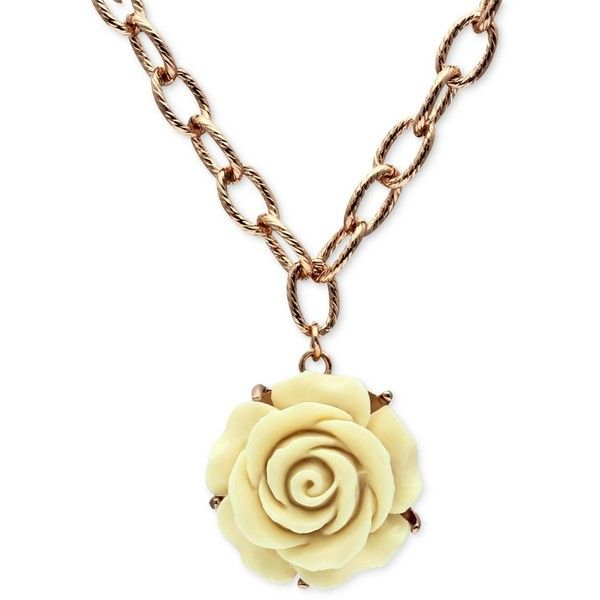 Jill Zarin Necklace, Rose Gold-Tone Cream Rose Pendant Necklace (29 CAD) ❤ liked on Polyvore featuring jewelry, necklaces, rose pendant, rose gold tone necklace, rose pendant necklace, cream jewelry and rose necklace