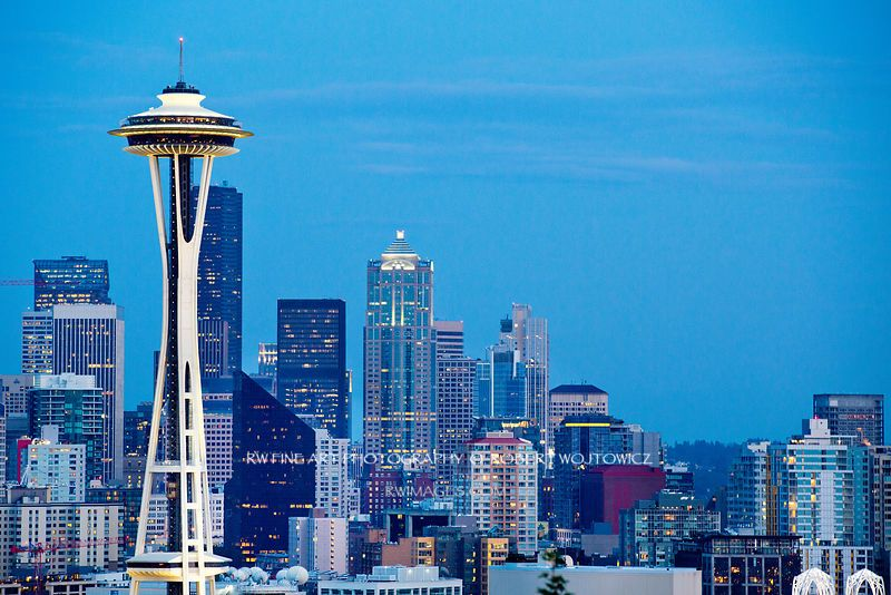 Framed Photo Print Of Seattle Skyline Space Needle Evening Print Picture Image Fine Art Photography Large Framed Print Wall Decor Art For Sale Stock Photo Photo Large Framed Prints Canvas Photo