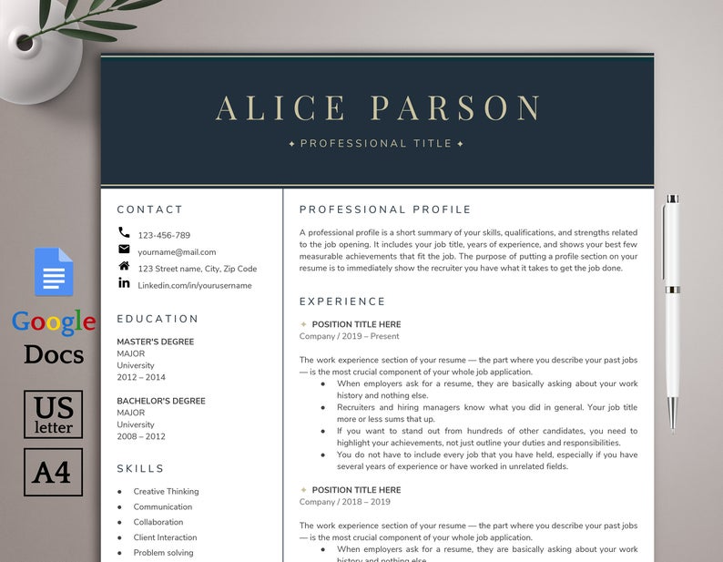 Resume Template Google Docs Professional Resume Template Etsy Resume Template Professional Resume Template Resume Template Etsy