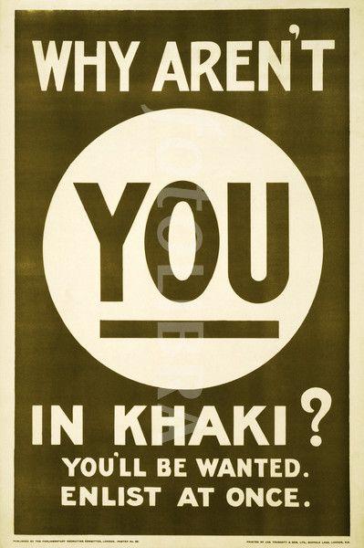 Http Gb Fotolibra Com Images Previews 670325 World War 1 Khaki Recruiting Poster Jpeg Wwii Propaganda Wwii Posters British Wars