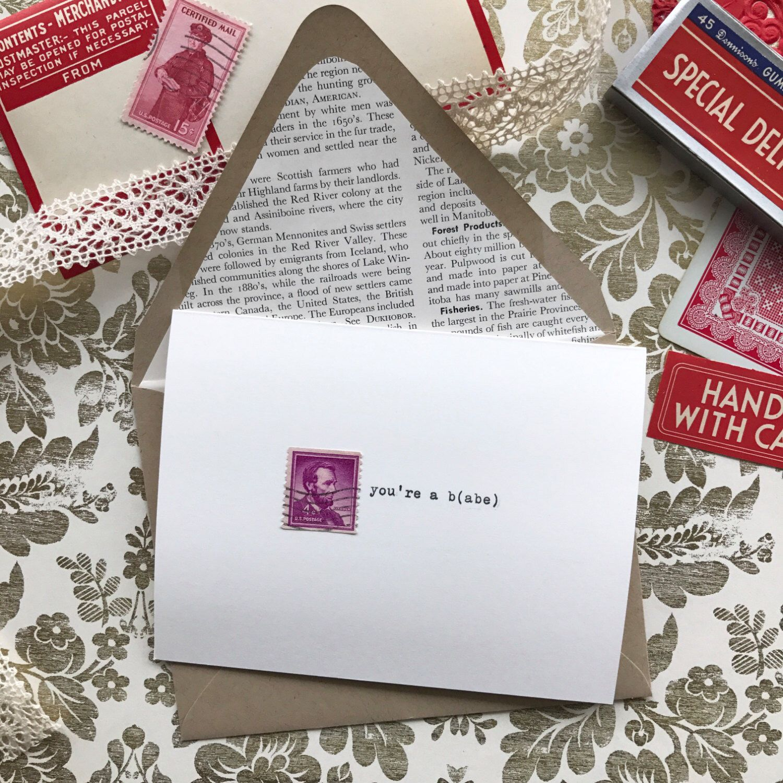 Vintage postage greeting card abes a babe valentine by vintage postage greeting card abes a babe love friendship card m4hsunfo