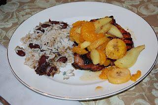 mojo brined pork w/plaintain rice and caribbean rice