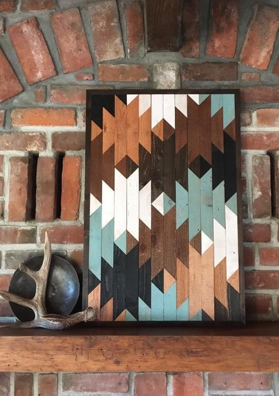 SOUTHWEST TAPESTRY - Reclaimed wood wall art - Southwest wood wall art - Navajo inspired - Squash blossom pattern