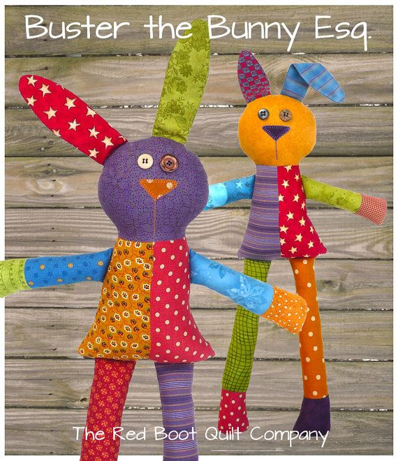 PDF Pattern  Buster the Bunny Softie E by TheRedBootQuiltCo, $6.00