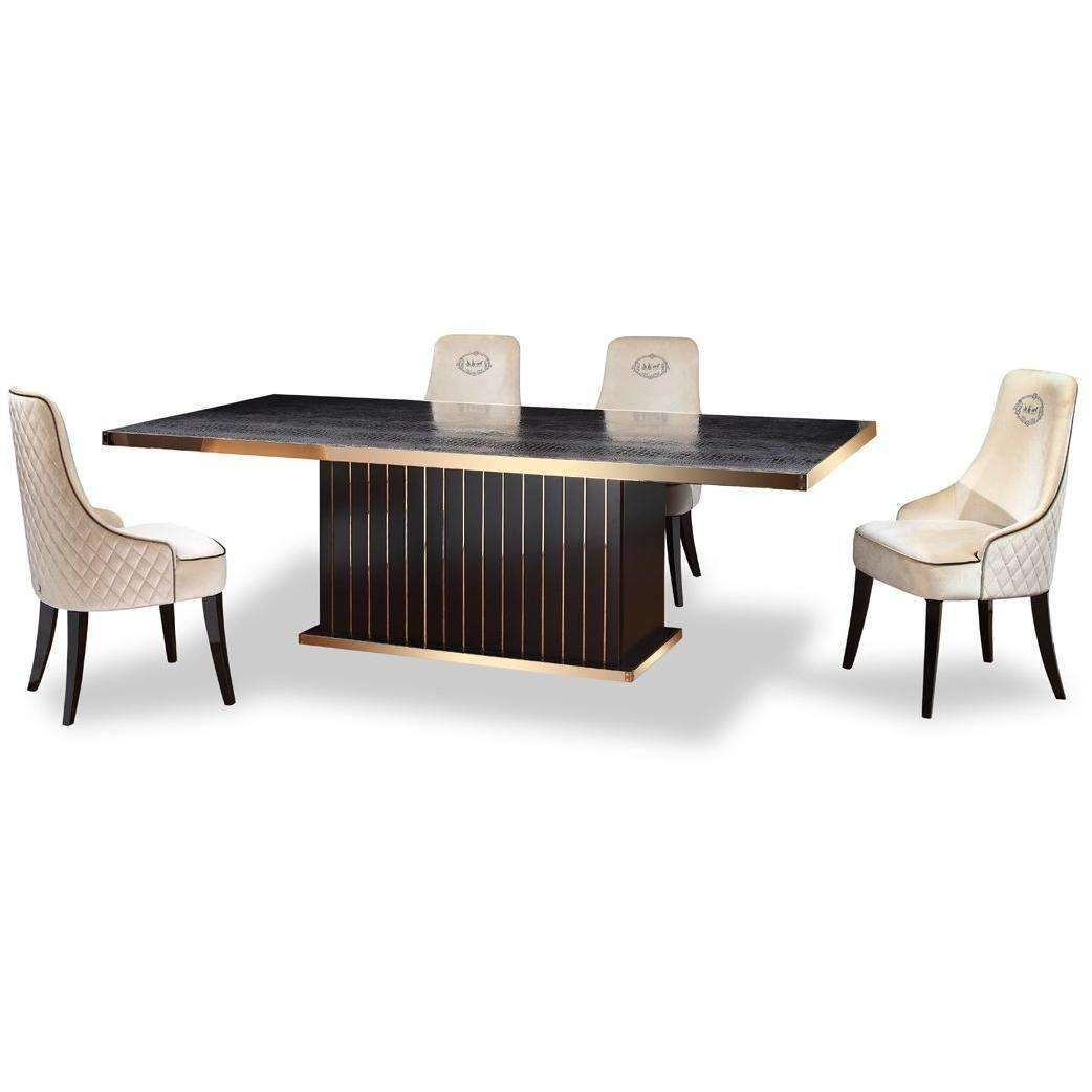 A X Talin Modern Black Crocodile Rosegold Dining Table Dining