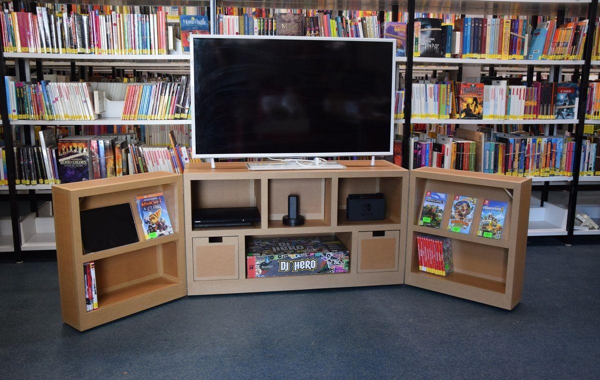 Meuble Tv Itinerant En Carton Sur Mesure Sg Mobilier Carton Bibliopole Angers Meuble Multimedia Mobilier De Salon Meubles En Carton