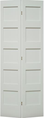Mastercraft 36 W X 80 H Primed Flat 5 Panel Bi Fold Closet Door In 2020 Bifold Closet Doors Closet Doors Tall Cabinet Storage