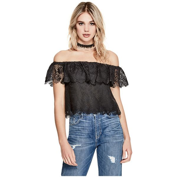 3ec3df0b60b384 GUESS Sasha Off-the-Shoulder Top ( 59) ❤ liked on Polyvore featuring tops