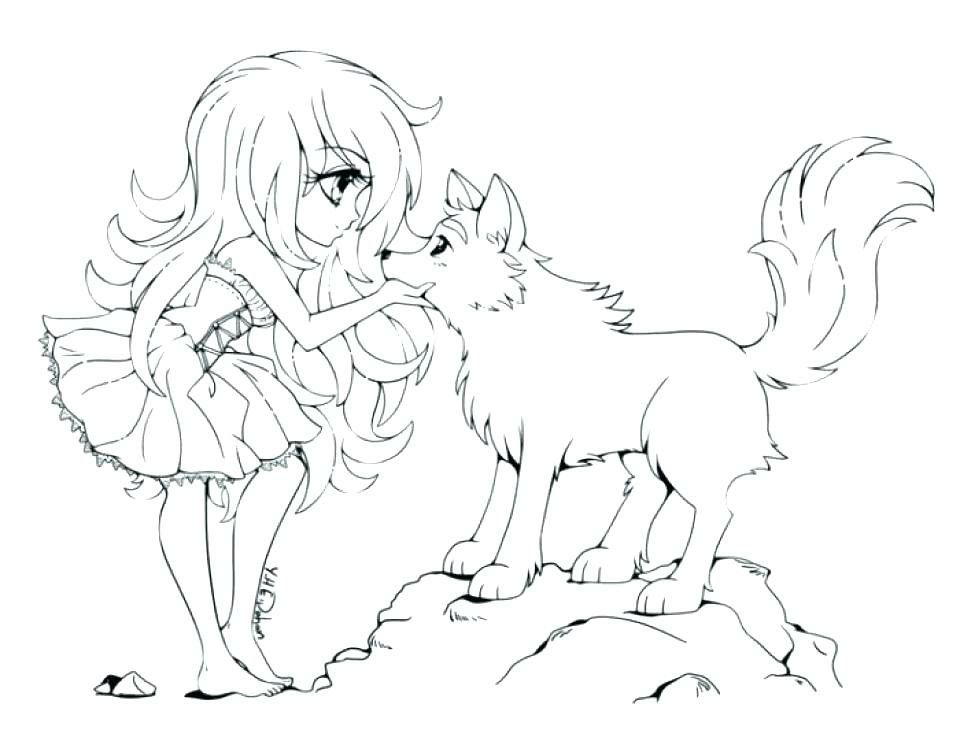 Chibi Girl And Wolf Chibi Coloring Pages Wolf Colors Anime Wolf Girl