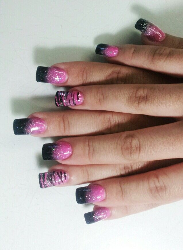 Faded together pink & black Tammy Taylor colored acrylic.