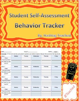 Student Self Assessment Behavior Tracker YearLong Template From