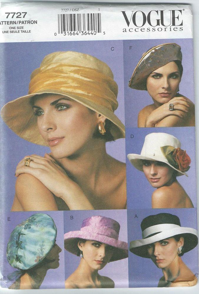 New Uncut Vogue Accessories Pattern 7727 Misses sz S*M*L Hats   6 Classic Styles #Vogue
