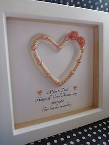 35th Wedding Anniversary Gift.Luxury Frame 35th Coral Wedding Anniversary Gift Present
