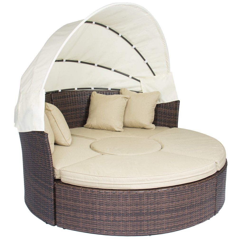 - Outdoor Patio Sofa Furniture Round Retractable Canopy Daybed Brown