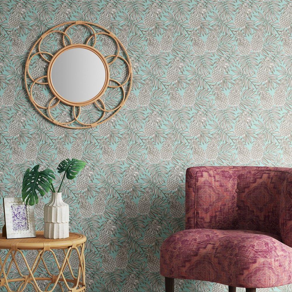 Pineapple Peel Stick Wallpaper Mint Opalhouse Peel And Stick Wallpaper Opalhouse Pineapple Wallpaper