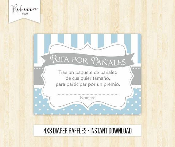Diaper Raffles Spanish Rifas Para Pañales Baby Shower In Spanish