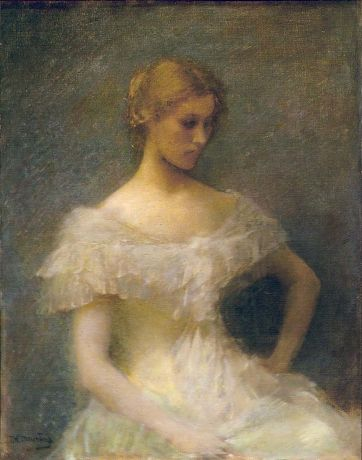 """""""Young Girl Seated"""" by Thomas Wilmer Dewing. 1896 oil on canvas. In the collection of The Smithsonian American Art Museum, Washington, DC. Gift of John Gellatly."""