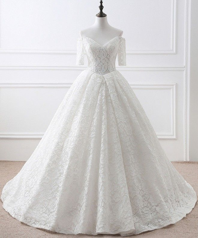 Ball Gown Off The Shoulder Vintage Lace Wedding Dress With Short