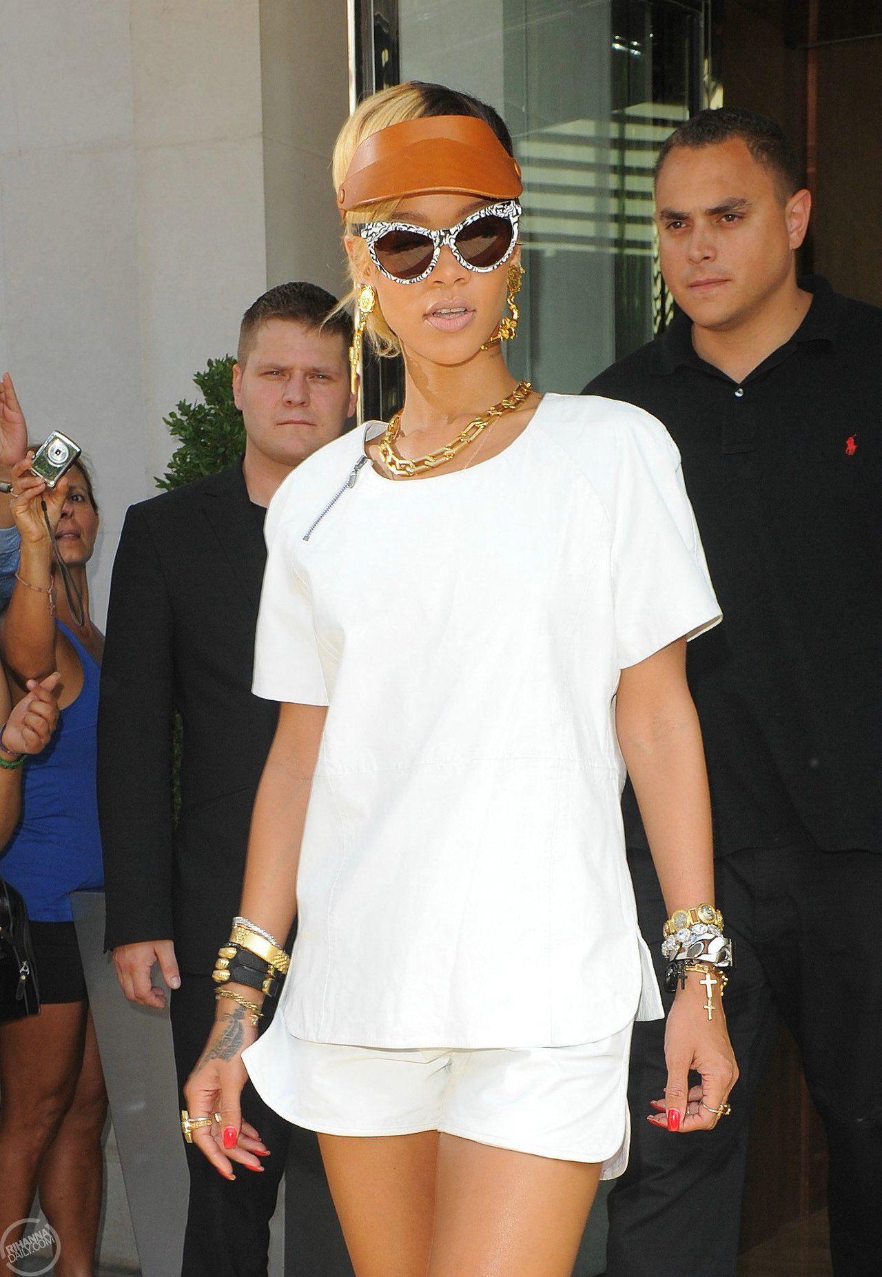 Rihanna Wearing A Fleet Ilya Clic Men S Tan Visor Vintage Chanel Gun Motif Earrings