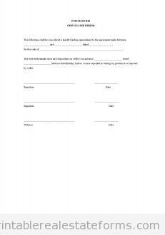 Sample Printable Purchase Bid Open Stated Period Form  Printable