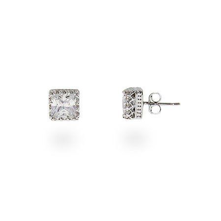 Crown Set Princess Cut CZ Studs Eve's Addiction. $32.00. TCW: 2.0 carats (pair of earrings). Metal Finish: sterling-silver-rhodium-finished. Approximate Weight: 1.2 grams