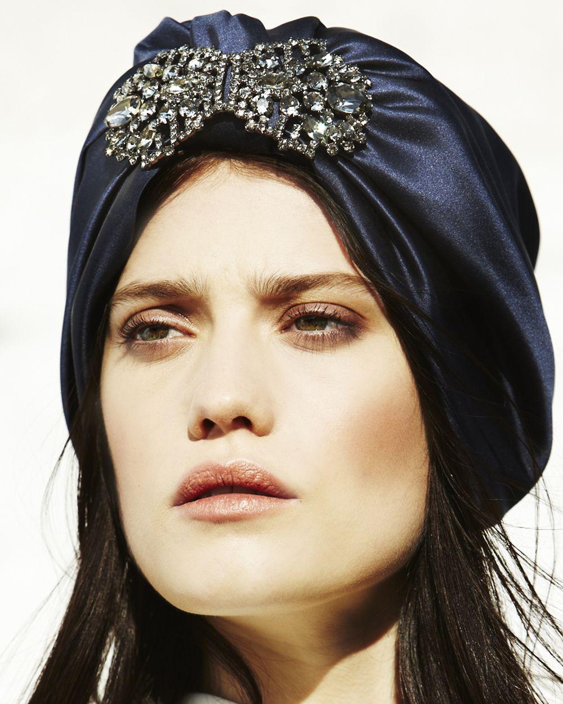 34e6e573f124 Jennifer Behr Lucille Turban    silk satin headpiece with Swarovski crystal
