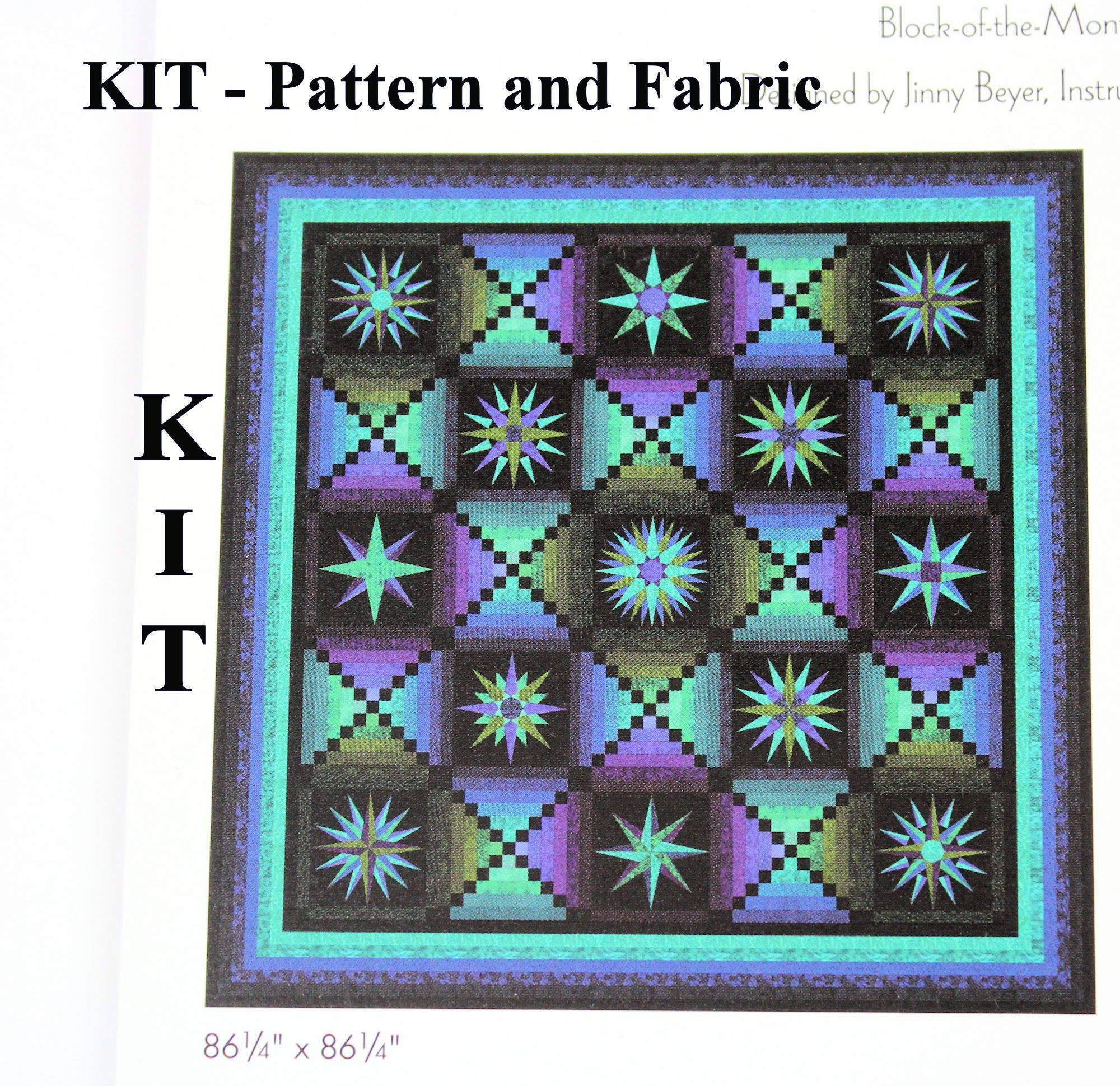 Quilt Kit Moon Glow By Jinny Beyer Including Border And Binding Fabrics Block Of The Month Complete Kit By Quil Quilt Kit Quilt Kits Cotton Quilting Fabric