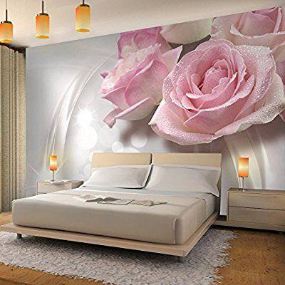 Fototapete Blumen 3D Rose Grau 352 x 250 cm Vlies Wand Tapete - moderne tapeten wohnzimmer