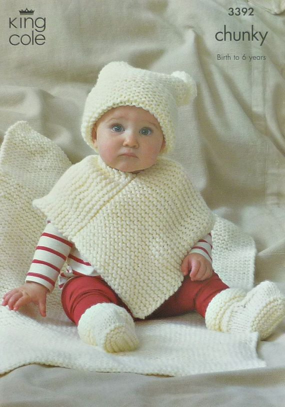Baby Knitting Pattern K3392 Very Easy Knit Babies Hat, Poncho ...
