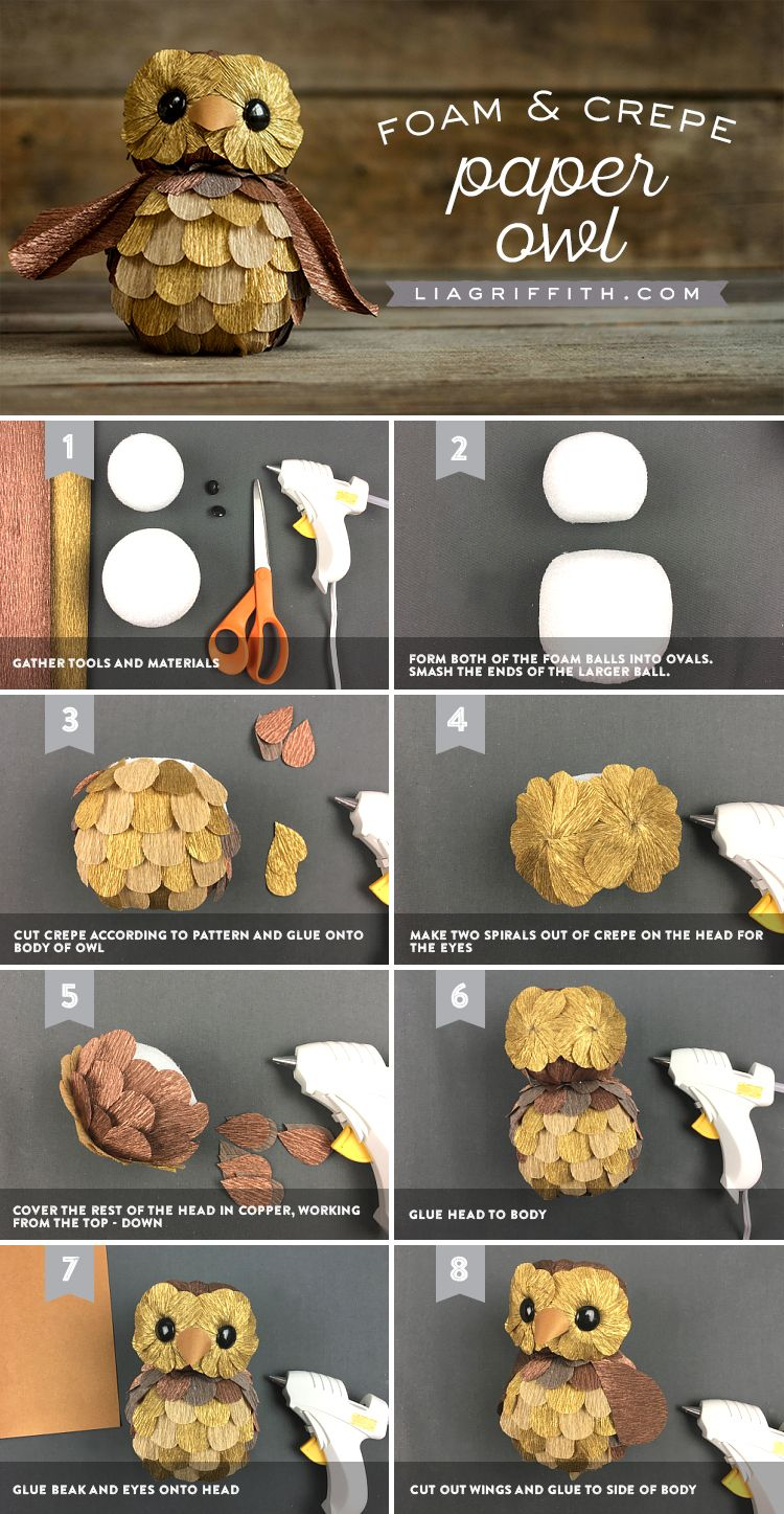 Foam and crepe paper owl paper owls crepe paper and crepes with metallic crepe paper craft foam and simple instructions create handsome owls with this step by step guide from lia griffith jeuxipadfo Image collections