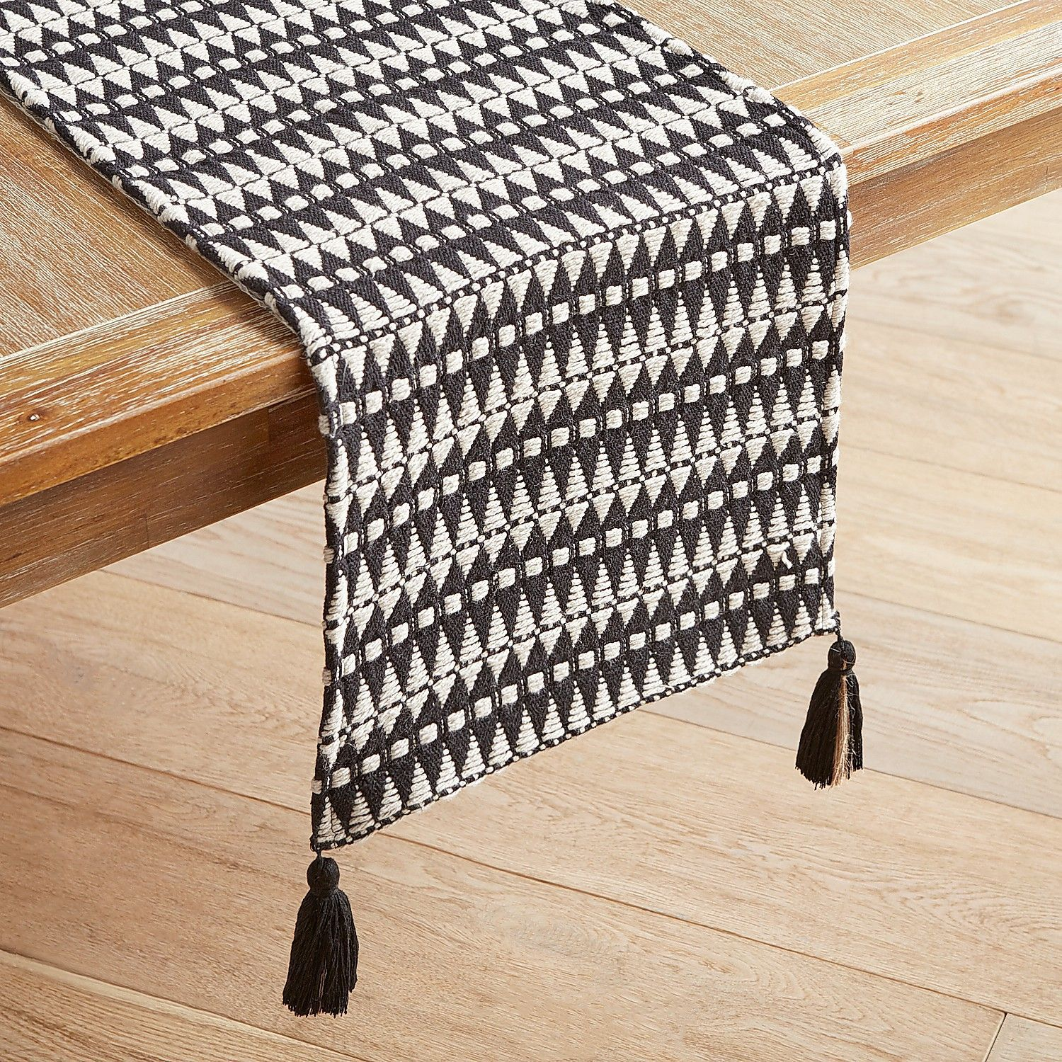 Black White Woven Table Runner