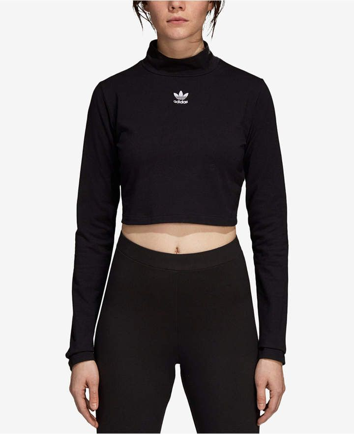 ADIDAS ORIGINALS Styling Complements Cropped Long sleeved Shirt for Women Black
