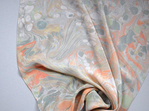 Marbled Silk Chiffon Scarf Xxviii By Natalieasis On Etsy Chiffon Scarf Silk Chiffon