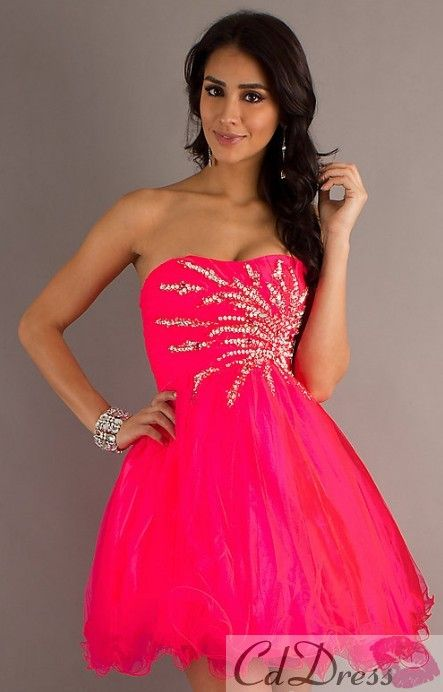 Empire Strapless Tulle And Sequins Homecoming Dress