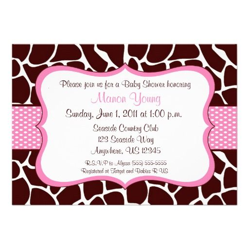 Giraffe Print Pink Baby Shower Invitation