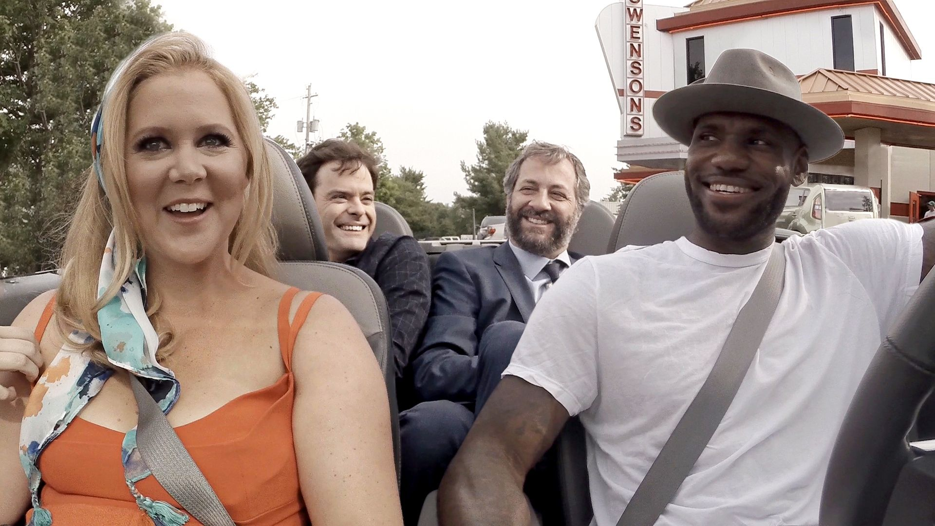 On the way to the Trainwreck movie premiere, LeBron James pitches ideas for a sequel to Amy Schumer, Judd Apatow, and Bill Hader while getting burgers at his favorite restaurant in Akron, Ohio, Swensons.