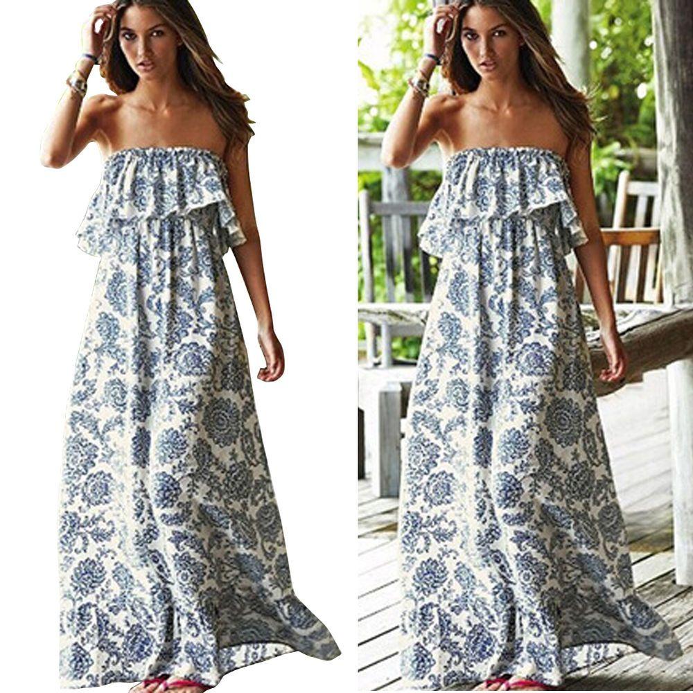 cac490f5a9 Summer Womens BOHO Bandeau Cocktail Evening Party Long Maxi Beach Dress  Sundress #Fioday #Maxi #SummerBeach