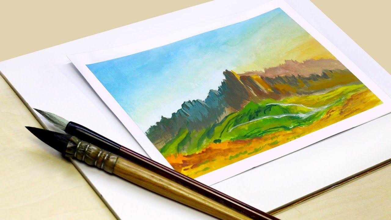 Hello Everybody Welcome To Amro Art Studio Channel كيف ترسم جبال بالالوان رسم منظر طبيعى سهل بالألوان المائية تتعلم الرسم بالالوان المائية كيف ترسم منظر طبي Art