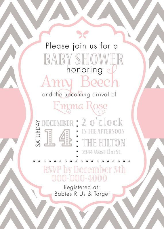 custom pink gray baby girl chevron invitation in 2018 baby